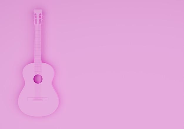 3d рендеринг акустическая гитара фон изолированный розовый