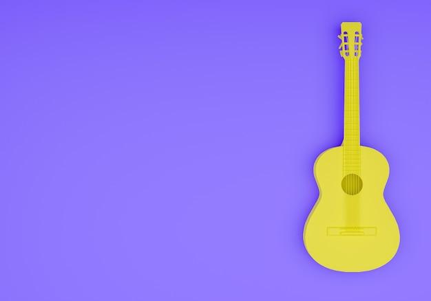 3d-рендеринг фона акустической гитары с пустым пространством