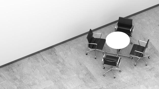 コンクリートの床に丸いテーブルが付いているオフィスの椅子の3 dレンダリング空撮。事務用家具。コピースペース付きのオフィス家具。小さな会議エリア。