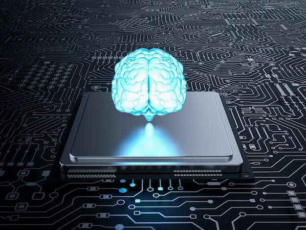 메인보드에 cpu가 있는 3d 렌더링 ai 두뇌