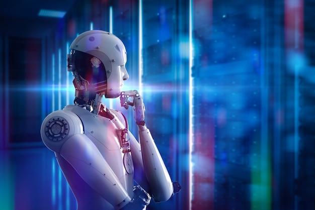 3d-рендеринг искусственного интеллекта робот думает или вычисляет с сияющим светом в серверной комнате