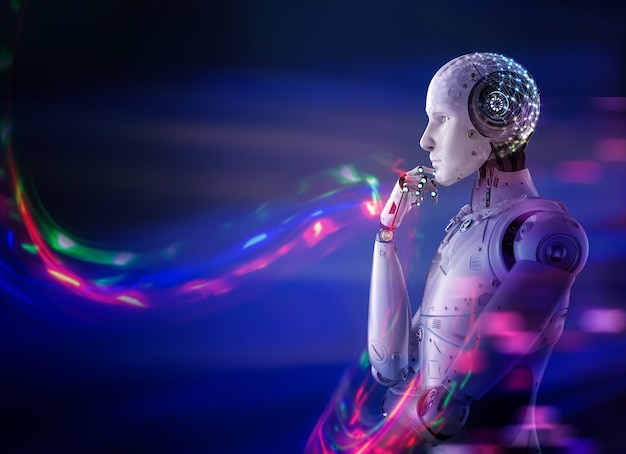 3d-рендеринг искусственного интеллекта робот думает или вычисляет с сияющим светом