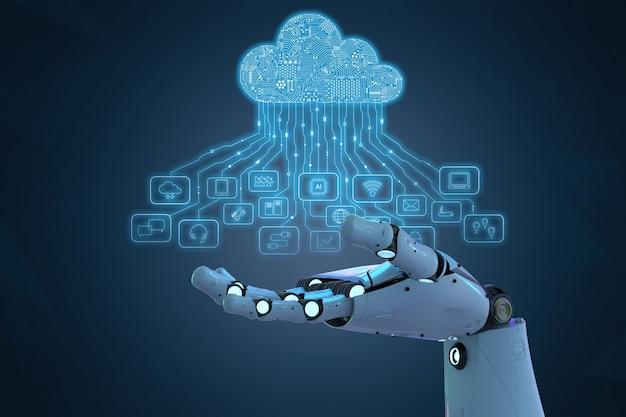 3d-рендеринг ai-робота с облачными вычислениями и технологическими значками