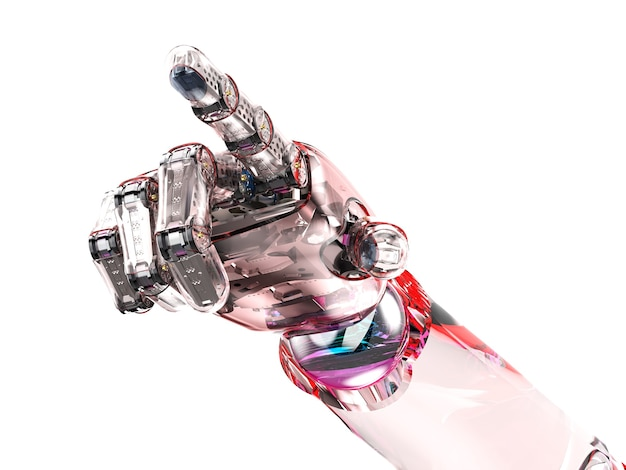 3d rendering ai robot with glassy red skin finger point  isolated on white