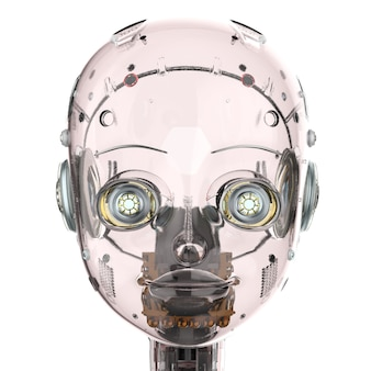 3d rendering ai robot with glassy red skin isolated on white