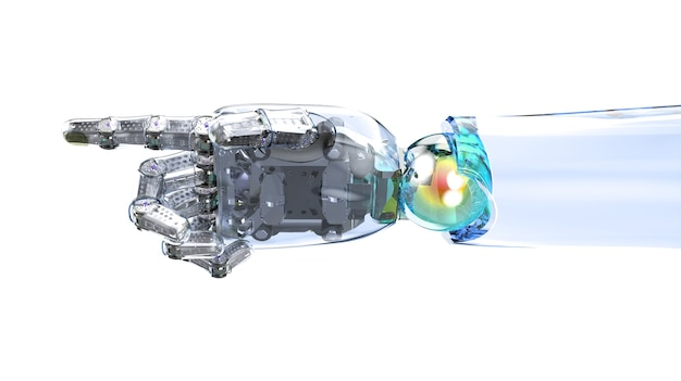 3d rendering ai robot with glassy skin finger point  isolated on white