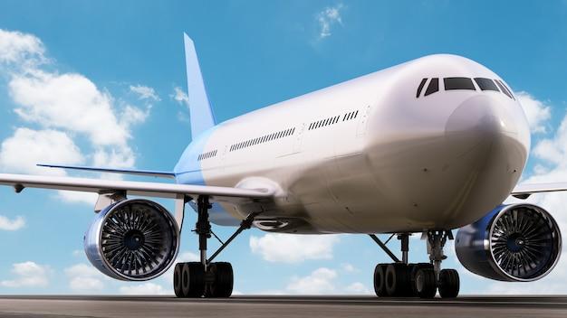 3d rendering airplane on runway