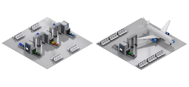 3d-рендеринг интерьера терминала аэропорта с сиденьями и воротами безопасности изометрической