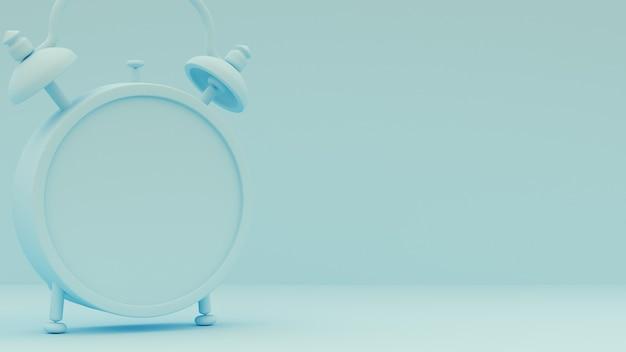 3dレンダリング。水色の背景に目覚まし時計