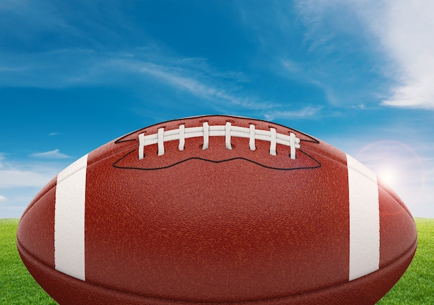 3d rendering american football ball on green field with blue sky