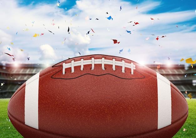 輝く光と紙吹雪の背景を持つアメリカンフットボールのボールを3dレンダリング