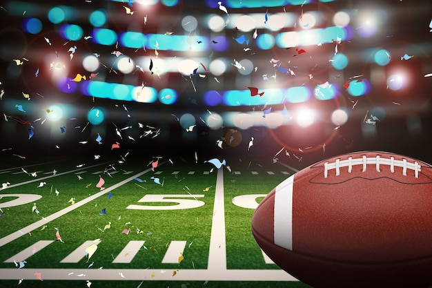 3d rendering american football ball with shining light and confetti background