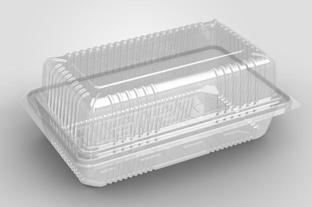 白で隔離された空の透明なハマグリの殻の狭いコンテナを3dレンダリング