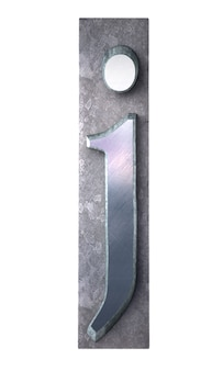 금속 타이프 스크립트 인쇄에서 j 문자를 3d 렌더링