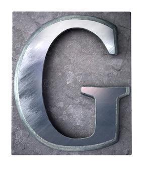금속 타이프 스크립트 인쇄에서 대문자 g 문자를 3d 렌더링