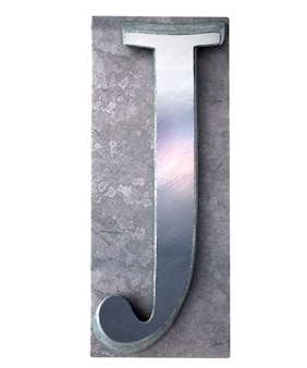 금속 타이프 스크립트 인쇄에서 대문자 j 문자를 3d 렌더링