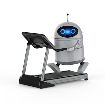 3d rendering android robot or artificial intelligence robot on treadmill