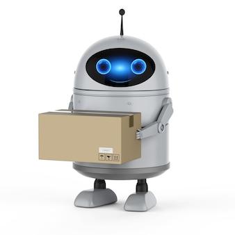 3d-рендеринг робота-андроида на складе с картонной коробкой