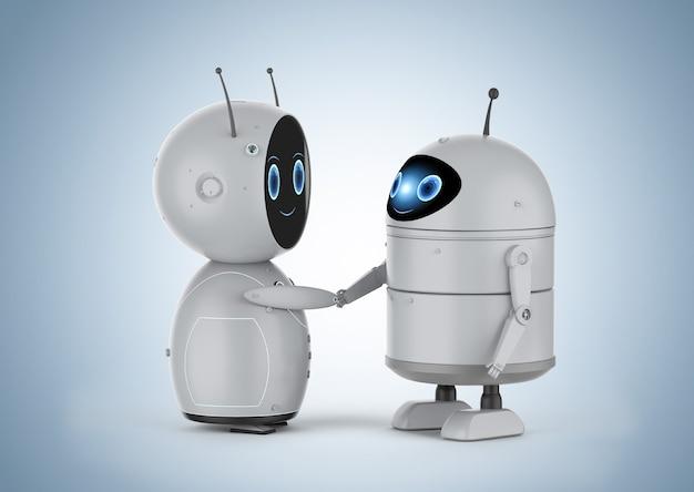 3d-рендеринг android-робот или робот с искусственным интеллектом рукопожатие