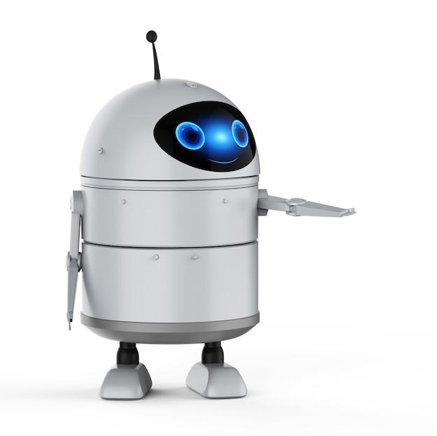 3d-рендеринг робота-андроида или робота с искусственным интеллектом с мультипликационным персонажем открытой рукой