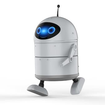 3d-рендеринг робота-андроида или робота с искусственным интеллектом с мультипликационным персонажем, идущим или движущимся