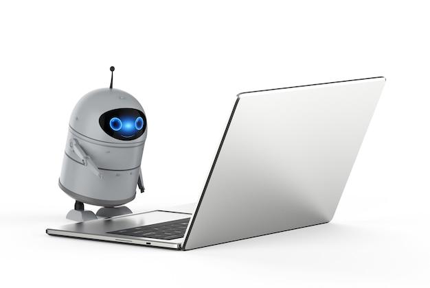 3d-рендеринг робота android или робота с искусственным интеллектом с компьютерным ноутбуком