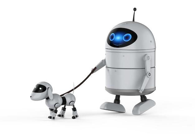 3d-рендеринг робота-андроида или робота с искусственным интеллектом с роботом-собакой