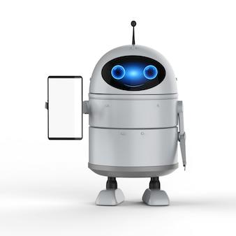 3d-рендеринг робота android или робота с искусственным интеллектом с пустым экраном мобильного телефона