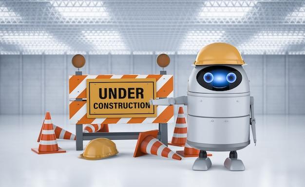 3d-рендеринг android-робота или робота с искусственным интеллектом со строящимся знаком