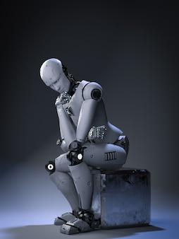 3d 렌더링 안 드 로이드 로봇 앉아서 생각
