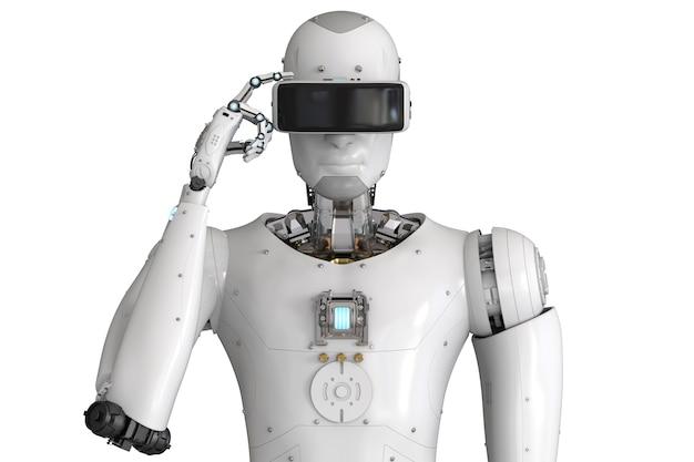Vr 헤드셋을 착용한 3d 렌더링 안 드 로이드 로봇