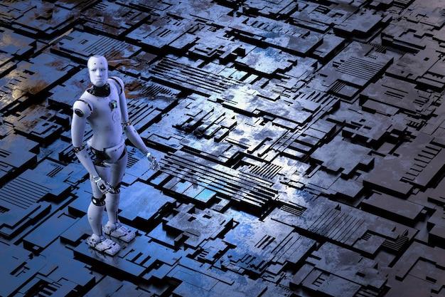 金属の床の背景を持つ3dレンダリングアンドロイドロボット