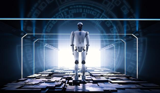トンネル内の金属床を備えた3dレンダリングandroidロボット