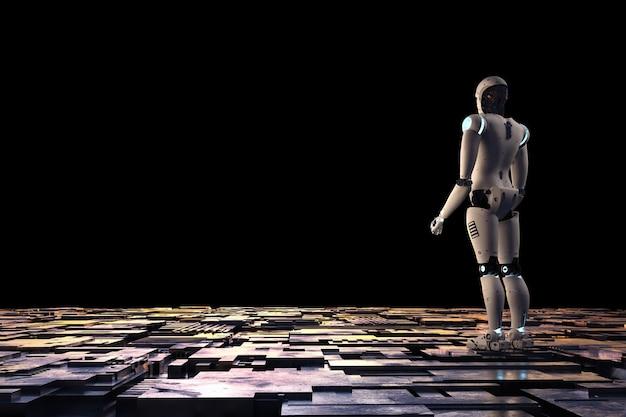 黒の背景に金属の床でアンドロイドロボットをレンダリングする3d