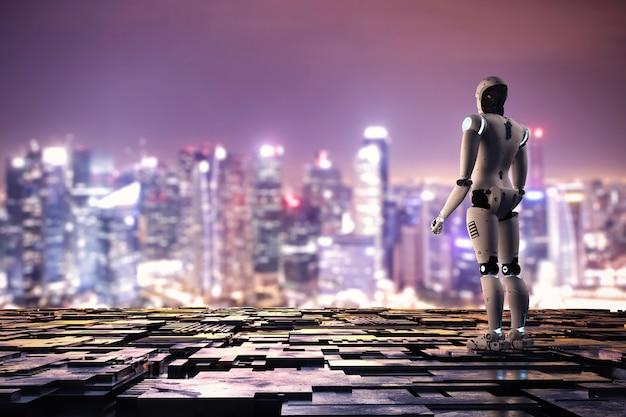 都市景観の背景に金属の床とアンドロイドロボットをレンダリングする3d