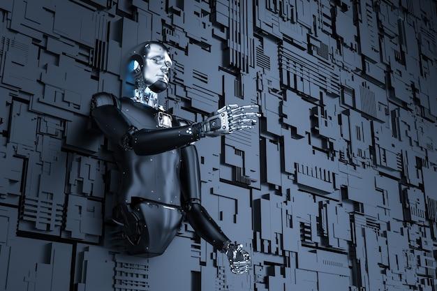 金属の壁の背景を持つ3dレンダリングアンドロイドロボット