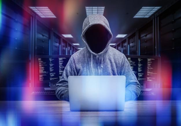 3d rendering anonymous hacker in server room