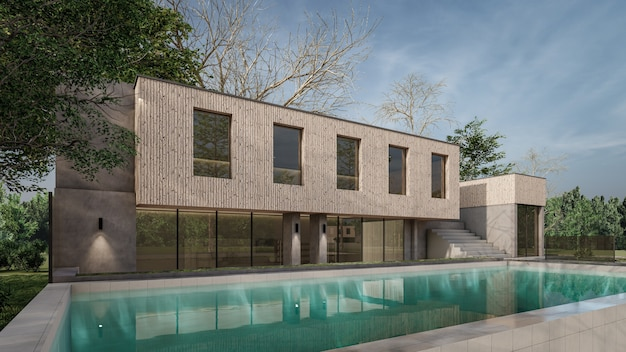 3d rendering architectural house swimming pool design