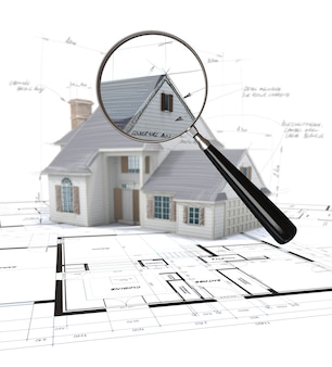 3d rendering of an architecture model scrutinized by a magnifying glass