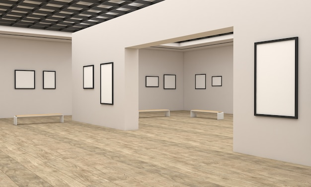 3d rendering of an art gallery exhibition
