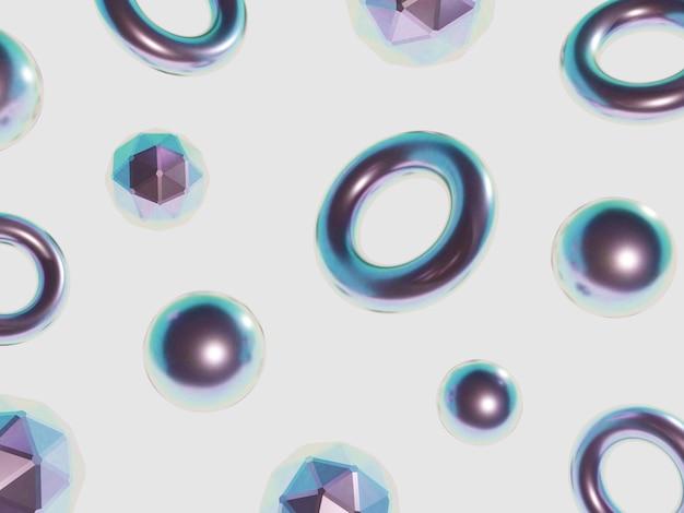 3d-рендеринг искусства минимальных геометрических фигур фона с пастельными голографическими цветами