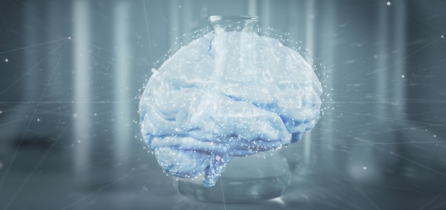3d rendering artificial brain isolated on medical