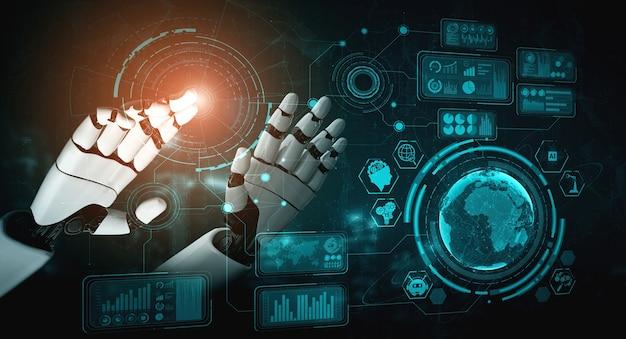 3d 렌더링 인공 지능 인공 지능 인공 지능 연구로 인류의 미래를위한 로봇 및 사이보그 개발. 컴퓨터 두뇌를위한 디지털 데이터 마이닝 및 기계 학습 기술 설계.