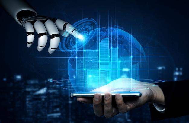未来の人々のためのロボットとサイボーグ開発の3dレンダリング人工知能ai研究。コンピューターの頭脳のためのデジタルデータマイニングと機械学習技術の設計。