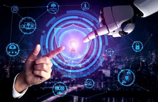生きている人々の未来のためのロボットとサイボーグ開発の3dレンダリング人工知能ai研究 Premium写真