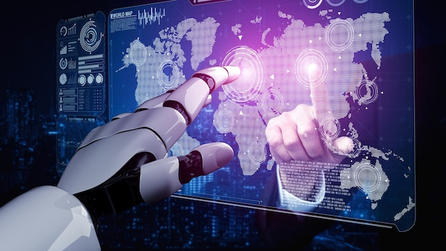生きている人々の未来のためのロボットとサイボーグ開発の3dレンダリング人工知能ai研究