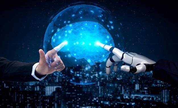 로봇 및 사이보그 개발의 3d 렌더링 인공 지능 ai 연구
