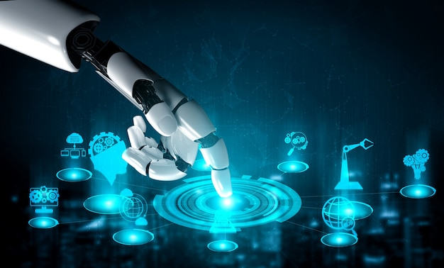 3d rendering artificial intelligence ai research of robot and cyborg development for future of people living