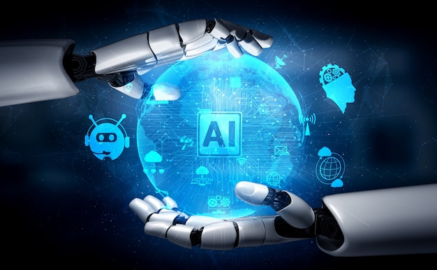 3d rendering artificial intelligence ai research of robot
