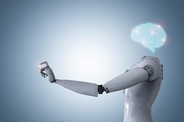 3d-рендеринг искусственного интеллекта мозга или искусственного интеллекта